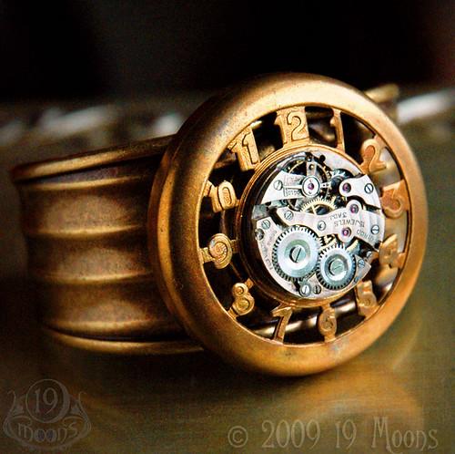 TIME MACHINE Vintage Steampunk Cuff Bracelet Original Design by 19 Moons - 1930s Clockwork Watch Movement on Vintage Deco Brass Cuff
