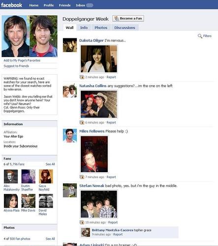 Facebook Doppelganger Week Fanpage as of 530pm 03Feb2010