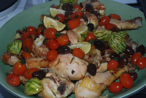 Roasted chicken with olive, tomatoes, lemon