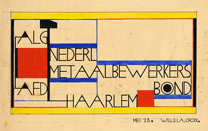 Design drawing by W. la Croix for the Metal Workers' Union, 1927.  NAI Collection - CROX