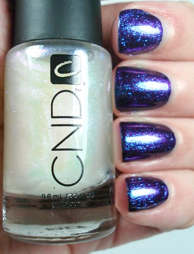 CND Sapphire Sparkle over China Glaze Let's Groove