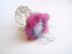 wire and fibre ring: poppy