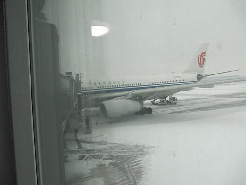 Schnee auf dem Beijing Capital International Airport