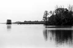 (beebo wallace) Tags: trestle blackandwhite bw reflection film water train 35mm delete2 deleted7 nc deleted9 pentax k1000 kodak delete6 ripple deleted3 saved2 deleted4 northcarolina deleted10 coastal pentaxk1000 deleted deleted8 kodaktmax400 saved3 pamlicoriver