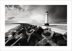 Perch Rock Lighthouse, New Brighton (Ian Bramham) Tags: bw lighthouse beach rock river landscape photography book photo nikon fineart perch mersey wirral breakwater newbrighton blurb merseyside d40 ianbramham nikondslrforum asweseeit2010