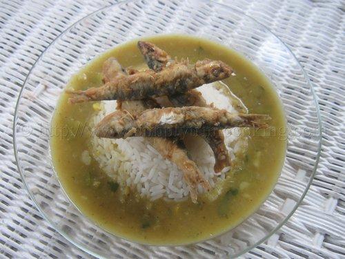 Rice and Dhal and Fry Jashwa (Fry Dry)