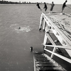 twirl (Tony Kearney) Tags: 6x6 mediumformat fishing relaxing goodfood tmax100 goinggoinggone swa 28c kidshavingfun blackwhitephotos scannedfromneg autaut biogon38mm happyeastereveryone homedevelopedwithd76 spenteastersaturdaydaytrippingonthefleurieupeninsula enjoyingtheeasterholidaybreak oldwoodenjetty visitingwillungamarket jettyathorseshoebay watchingothersrelaxingandhavingfun