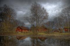 Äntligen våren kommen (Johan Runegrund) Tags: houses red reflection water clouds spring nikon sweden norden sverige scandinavia hdr suecia sundsby 스웨덴 d40 瑞典 швеция swedia lasuède abigfave