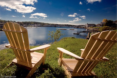 Adirondack Chairs Overlooking Booth Bay Harbor, Maine (George Oze) Tags: usa horizontal harbor view maine relaxing newengland inlet adirondackchair boothbay scencic bayocean