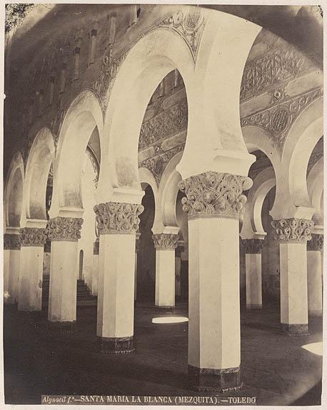 Sinagoga de Santa María la Blanca hacia 1880. Fotografía de Casiano Alguacil