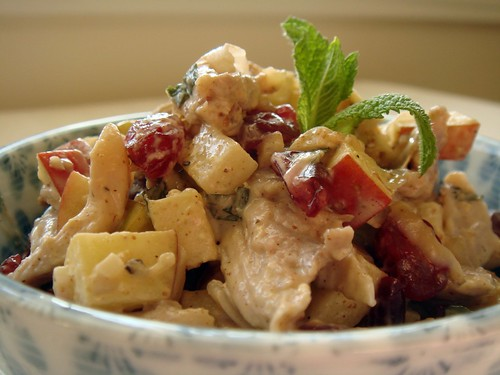 Minted Chicken Salad With Apples, Cranberries, Walnuts