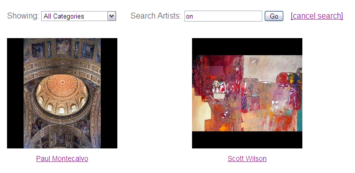 Art Gallery Widget Artist Search