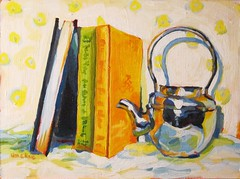 HMCraig-Teapot On A Funny Day (HMCraig Art) Tags: stilllife white green painting colorful acrylic books teapot cadmiumyellow