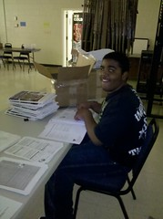 Relay for Life Kickoff - Khalif Prepares Team Packets