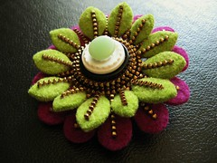 Layered (woolly  fabulous) Tags: flowers wool petals pin recycled buttons felt zipper brooches ecofriendly