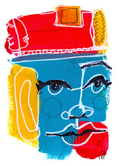 Parade Hat (Tonya Doughty) Tags: acrylic abstractportrait primarycolor painting