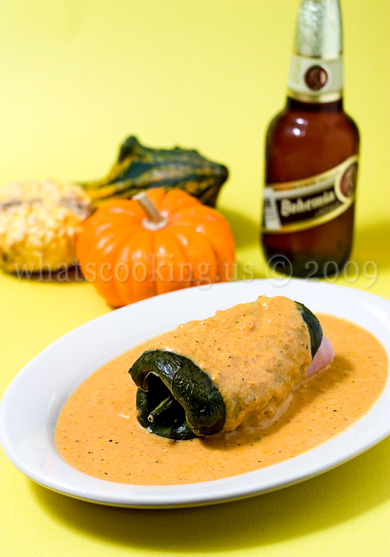 Chiles rellenos in pumpkin sauce