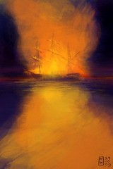 The night she burned (Matthew Watkins) Tags: original sea seascape color colour art water illustration digital painting war barca ship ipod image drawing matthew unique touch story burning nave brushes watkins app fingerpainted iphone brusciare
