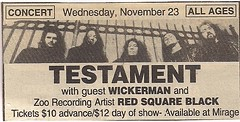 11/23/94 Testament/Red Square Black/Wickerman @ Minneapolis, MN (Ad)