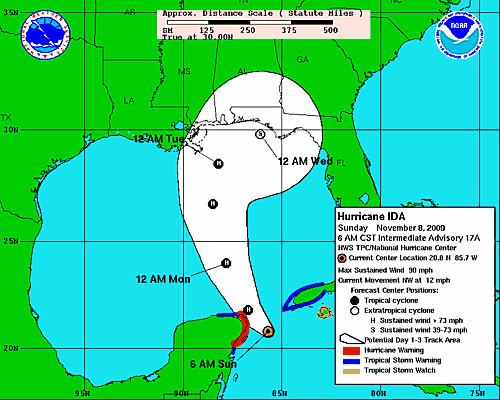 2009-11-08 -- Hurricane Ida 3-day chart