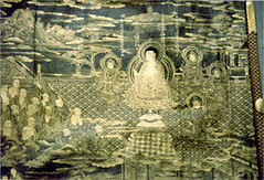 Buddha giving teachings. Image from a Sutra scroll