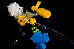Sam never found his helmet... (Mark Solly (F-StopNinja)) Tags: trip macro fall wet water lego action flash spray fireman squirt splash spurt gush highspeed strobe nikond90 tamron18270mm