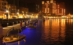 The Pearl, Qatar (Monyaa) Tags: night canon boats eos porto arabia pearl doha qatar catar   450d