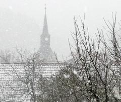 Snow is falling ... (:Linda:) Tags: roof winter mist snow tree church fog germany thringen village thuringia clocktower spire dach rooftile schneetreiben schiefer churchoutside schneegestber nobw brden slateshingle dachschindel slateshingled schiefergedeckt