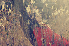 calm [Explore] (laura zalenga) Tags: light red woman sun tree nature netherlands girl field sleep coat calm laurazalenga
