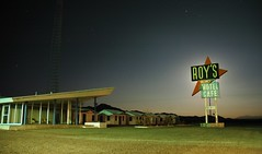 Roy's Motel eclipses full moon. I think this must have been the model for setting of 'The Postman Always Rings Twice'. (Dave van Hulsteyn) Tags: light moon sign vintage painting town us highway exposure neon desert space ghost motel 66 historic full route age mojave era ghosttown flashlight sputnik googie decayed amboy semilong itwascreepyoutthere wewereplayingjohnnymathiswhenthemooncameup itwasonightdivine thismaybemyfavoritepicinmyphotostreambutimnotsure