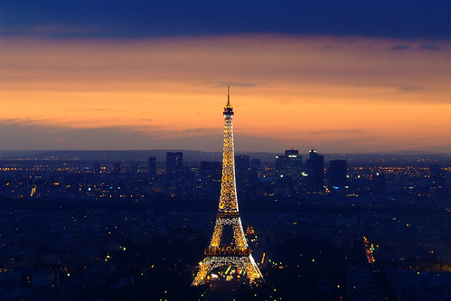 Eiffel Tower at sunset from Mont Parnasse