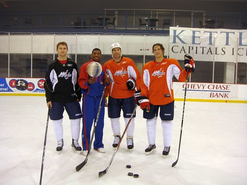 Blakes on the ice with Capitals players