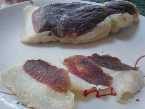 Duck prosciutto sliced as thinly as possible