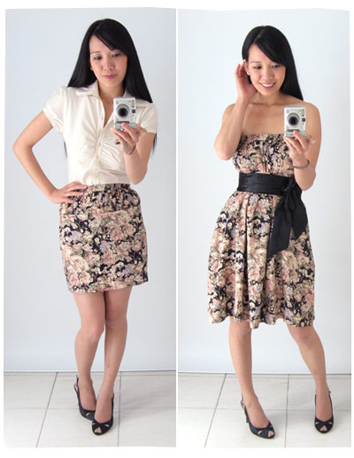 Vintage skirt worn as a mini skirt and strapless dress