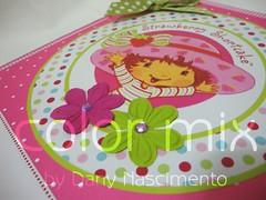 album moranguinho - detalhe capa (Color Mix by Dany Nascimento) Tags: baby aniversario girl scrapbook rosa bolas beb menina nascimento maternidade lbum fotogrfico moranguinho