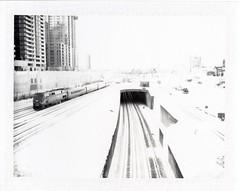.. (Js) Tags: blackandwhite bw toronto train railway tunnel highkey westward spadinaave underdevelopment epsonv700 fujifp100b polaroidland250
