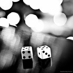 Spots & Dots (raisinsawdust - (aka: withaneyephotography)) Tags: light bw stilllife dice reflections square 50mm nikon bokeh tennessee spots f18 2010 d90 nikond90 nikond90bw