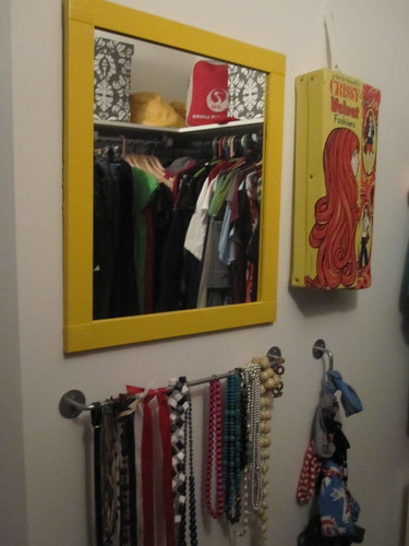 Will paint the walk-in closet and bedroom door and change this mirror.