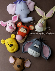 Winnie the Pooh and friends (Dot Klerck....) Tags: pink flowers wedding roses elephant rabbit southafrica cupcakes capetown dot winniethepooh tigger piglet eeyore roo hefalump cupcakesbydesign