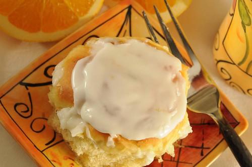 orange roll on plate