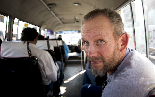 Harry Kwak, Jessie's father, joining us for a micro bus ride in Lima Peru.