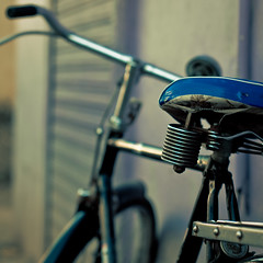 Vintage Bike (christian.senger) Tags: travel blue india bike bicycle digital vintage geotagged grey nikon asia dof suspension outdoor gray goa saddle lightroom d300 panaji rollingshutter christiansenger:year=2010