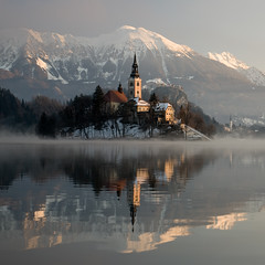 Bled on a foggy morning /2 (Erik Meylemans) Tags: mountain mountains church europa europe religion slovenia bled mountainrange lakebled