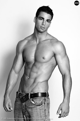 Sexy Latin male model hot shirtless hunk black and white wallpaper