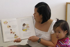 Mommy reading Aki and the Fox to Aki's class