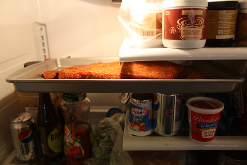 Brisket in fridge