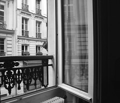 a room with a view (lookseebynaomifenton) Tags: paris france reflection window blackwhite hotelroom shuttersisters mythirtiethbirthday