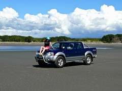 North of Wellington, NZ (RuthannOC) Tags: ocean new summer beach me girl hat wheel female bar island drive cowboy sitting nissan jeep pacific 4x4 sandy 4 north bull southern ute zealand nz wellington vehicle waters wd oconnor 2010 hemisphere ruthann navara
