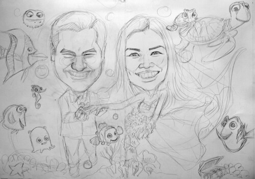 underwater Mermaid wedding couple caricatures A1 siez - pencil sketch