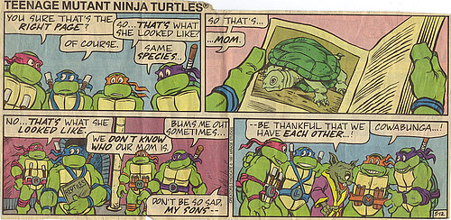 Teenage Mutant Ninja Turtles { newspaper strip } ..Remembering Mom, kinda- ..art by Lawson :: 05121991